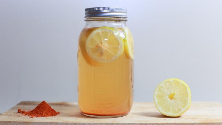 jarred cider with lemon