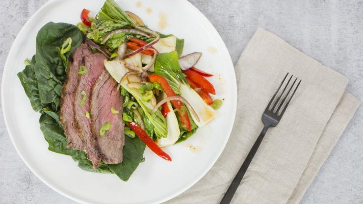 Grass-Fed Grilled Steak with Sesame Chile Bok Choy
