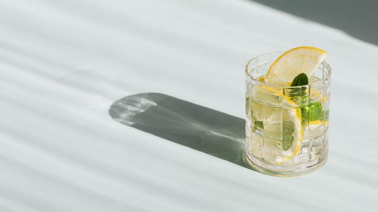 Cocktail glass with lemon and mint